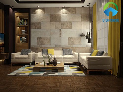 cách phối màu gạch ốp tường phòng khách