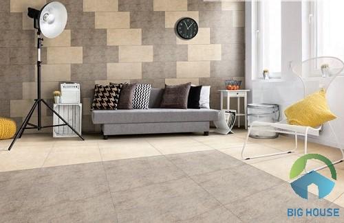 Gạch chống trơn phòng khách mang phong cách đơn giản