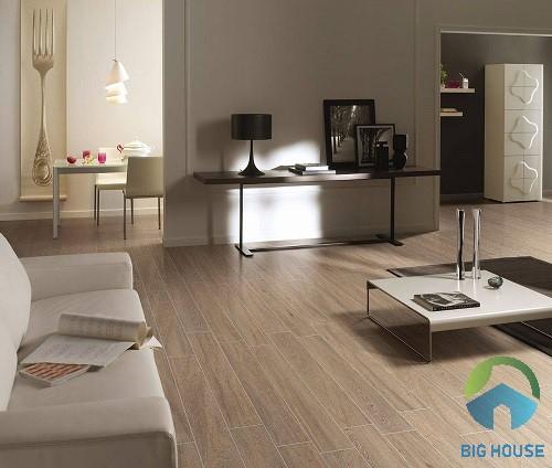 Gạch vân gỗ bề mặt men matt chống trơn hiệu quả cho phòng khách