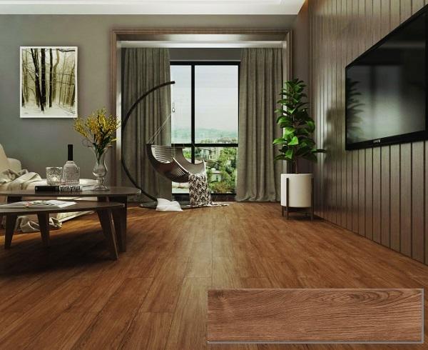 gạch giả gỗ chống nồm viglacera GT15903 màu nâu đậm cổ điển. ấm cúng