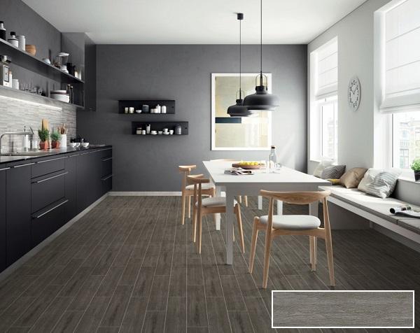 Gạch màu xám đậm Prime 09555 giúp căn phòng bếp thêm hiện đại hơn