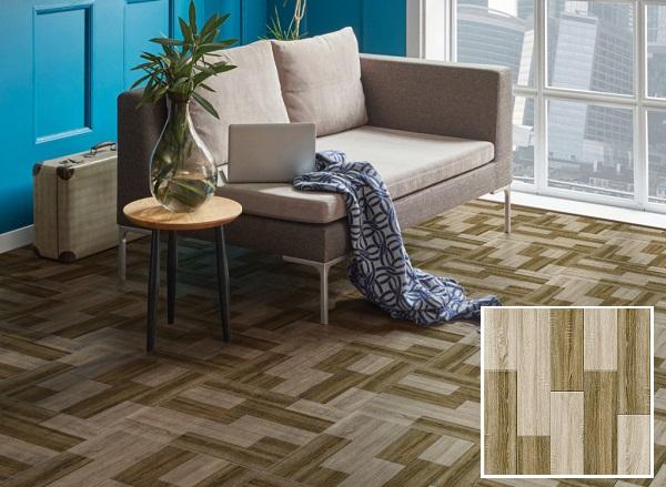 mẫu gạch prime 09836 kích thước vuông với bề mặt họa tiết là những thanh gỗ ghép đậm - nhạt nổi bật