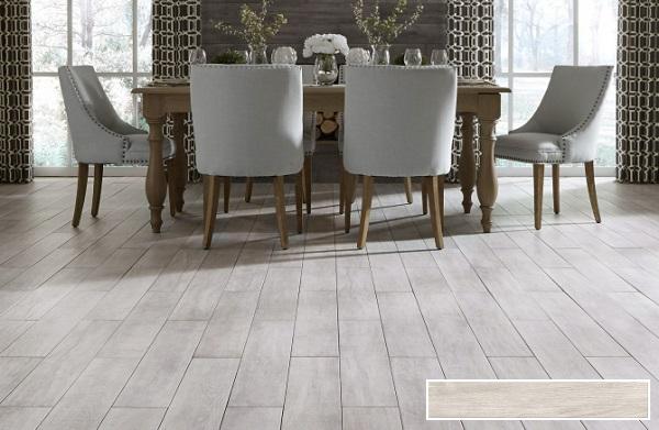 gạch lát nền phòng khách giả gỗ Viglacera GT15904 màu xám trắng phù hợp phong cách thiết kế Scandinavian