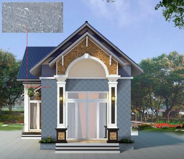 Mẫu gạch thẻ Đồng Tâm 1020ROCK010 màu xám rêu độc đáo tạo sự khác biệt cho khu vực mặt tiền nhà cấp 4