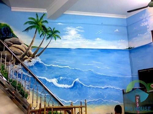 Tranh trang trí cầu thang phong cảnh biển cả
