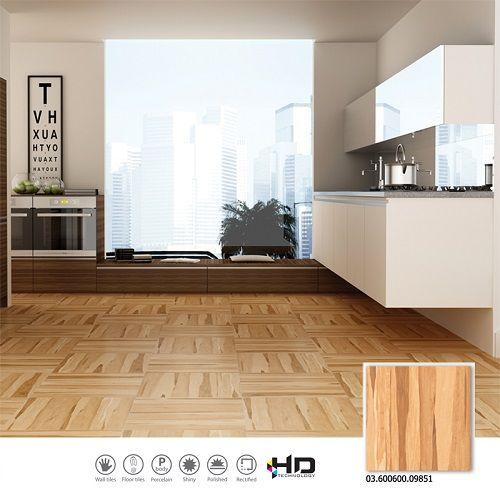 Ứng dụng mẫu gạch giả gỗ 60x60 Prime 09851 cho khu vực phòng bếp