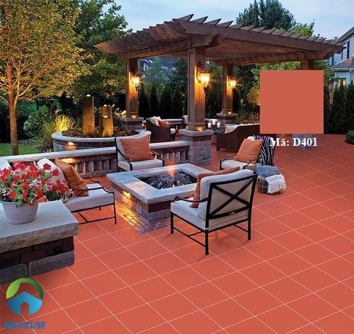 mẫu gạch đỏ cotto lát sân vườn Viglacera D401