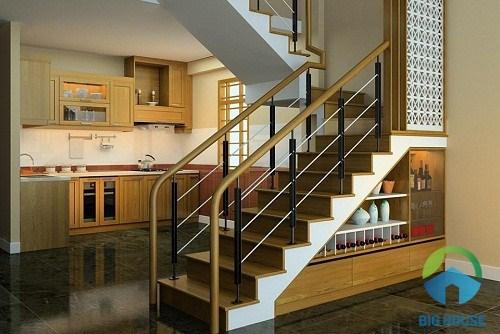Sử dụng mẫu gạch lát cầu thang và nội thất đồng màu