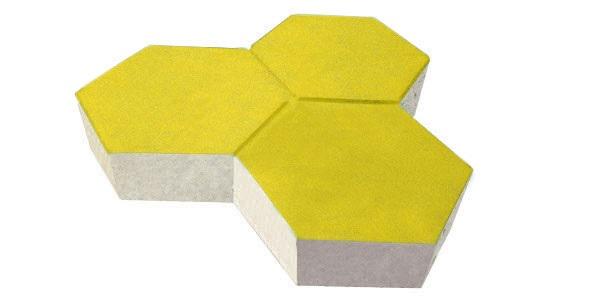 Gạch lục giác bê tông tự chèn màu vàng