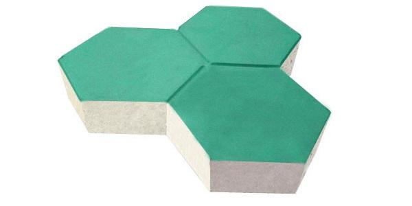 gạch lát vỉa hè hình lục giác màu xanh lá cây