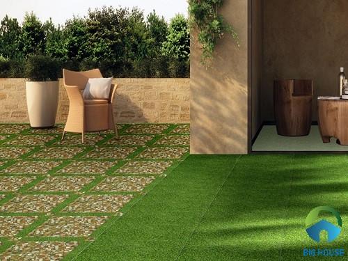 Gạch cỏ lát sân vườn đẹp tự nhiên