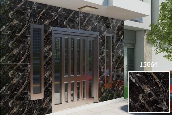 Mẫu gạch ốp mặt tiền giả đá marble màu đen Prime 15664