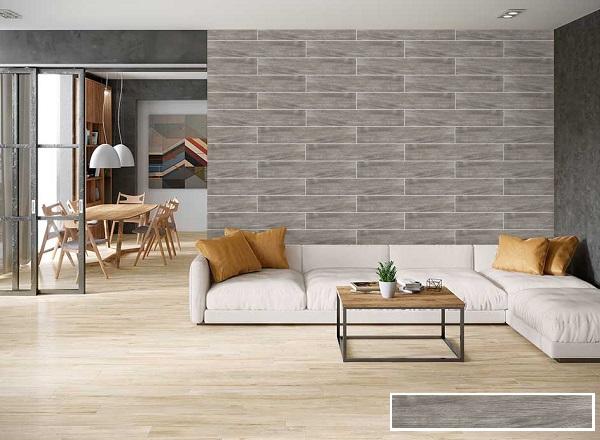 Gạch ốp tường phòng khách giả gỗ Viglacera tone xám hiện đại
