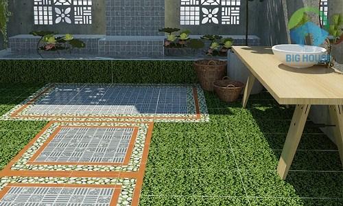 gạch lát sân chống rêu mốc