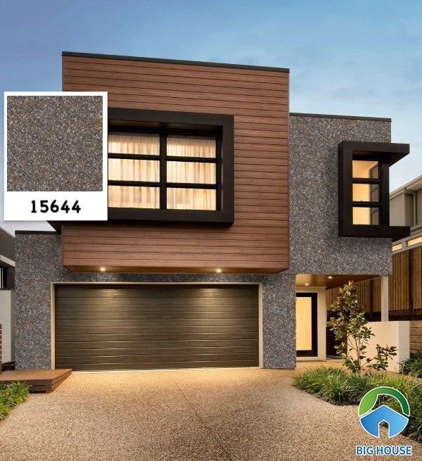 Mẫu gạch ốp tường giả đá hoa cương 15644 màu xám đậm kết hợp cùng gạch vân gỗ