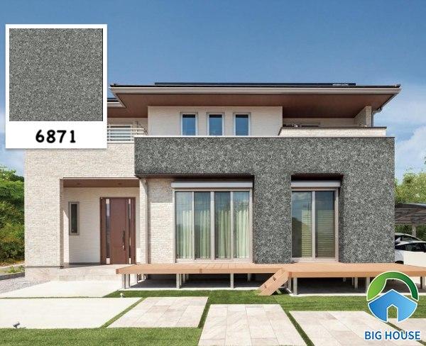 Mẫu gạch ốp tường ngoài trời vân đá Prime 6871 màu xám xanh hiện đại