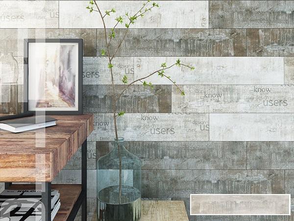 gạch ốp tường phòng khách giả gỗ Hoàn Mỹ 12008 tông màu xám loang cổ điển