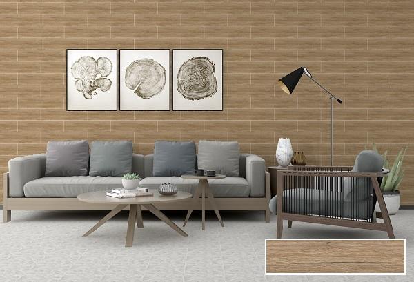 Gạch ốp tường giả gỗ vitto 9534 tông màu nâu nhạt cổ điển