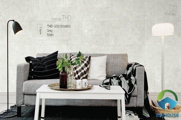 Mẫu gạch ốp tường phòng khách Viglacera Eurotile THD G03 Grey Matt