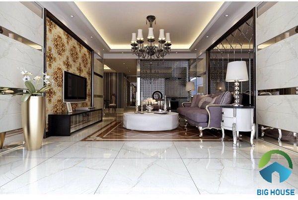 Gạch ốp phòng khách Viglacera vân đá sang trọng