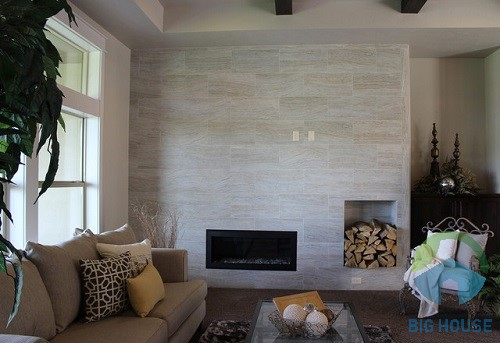 gạch vân gỗ ốp tường phòng khách