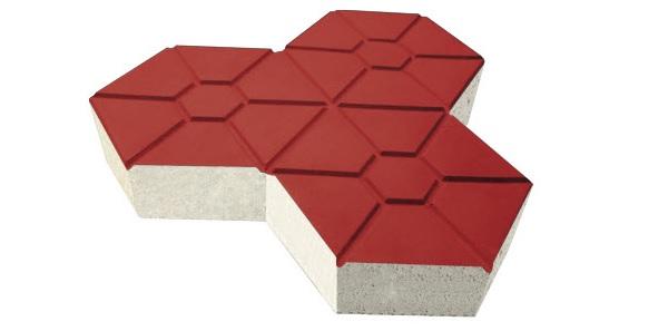 Mẫu gạch block tự chèn hình lục giác có nhân màu đỏ