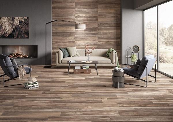Gạch ốp tường giả gỗ cùng tone với gạch lát nền