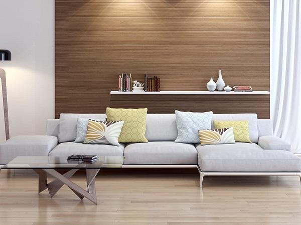 phối màu gạch ốp phòng khách giả gỗ
