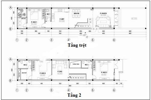 mẫu nhà ống lệch tầng 4x15 m