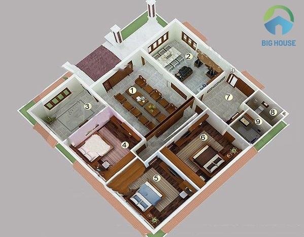 nhà cấp 4 mái thái 3 phòng ngủ 1