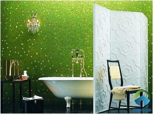 Gạch mosaic ốp phòng tắm màu xanh