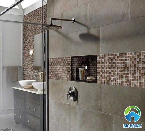 gạch mosaic màu nâu ốp tường nhà tắm
