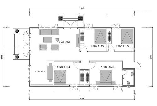 mẫu thiết kế nhà cấp 4 có phòng thờ 1