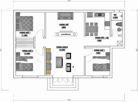 thiết kế nhà cấp 4 có phòng thờ 1