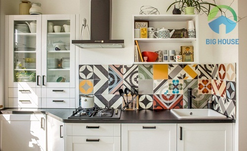 Các mẫu gạch bông ốp tường nhà bếp xen kẽ nhiều màu sắc và họa tiết