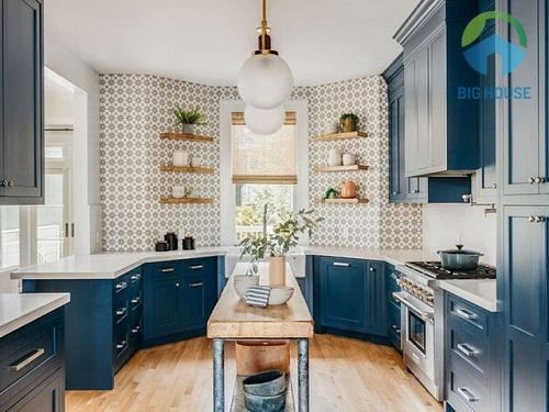 Mẫu gạch hoa văn ốp tường tối giản cho phòng bếp