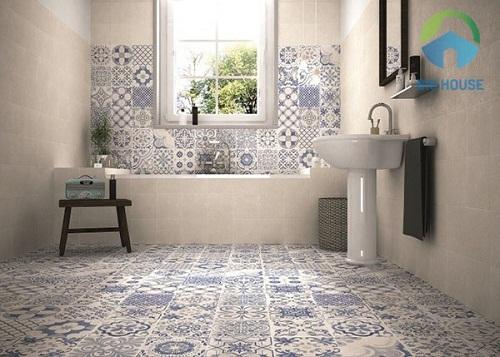 Gạch bông trang trí màu xanh cho nhà tắm