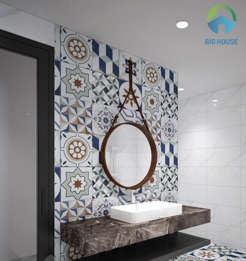Gạch bông ốp tường cho không gian phòng tắm ấn tượng