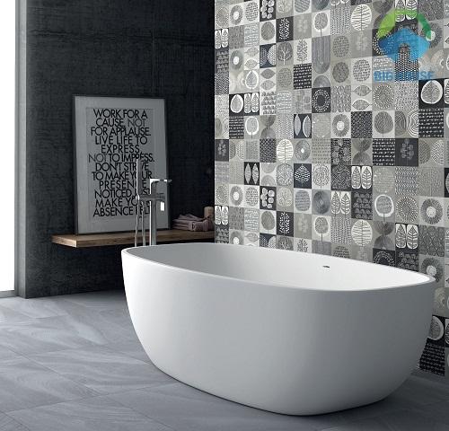 Mẫu gạch hoa văn ốp tường phòng tắm nổi bật