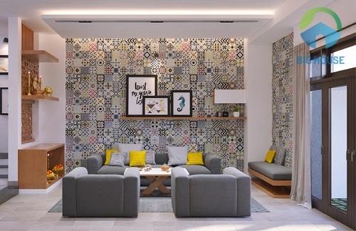 Mẫu gạch bông họa tiết hoa văn cổ điển cho phòng khách