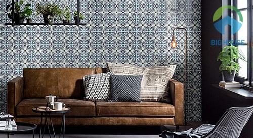 Mẫu gạch bông ốp tường phòng khách màu xanh