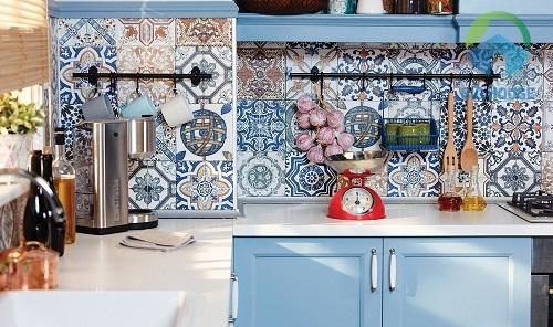 Mẫu gạch bông ốp bếp độc đáo đầy màu sắc