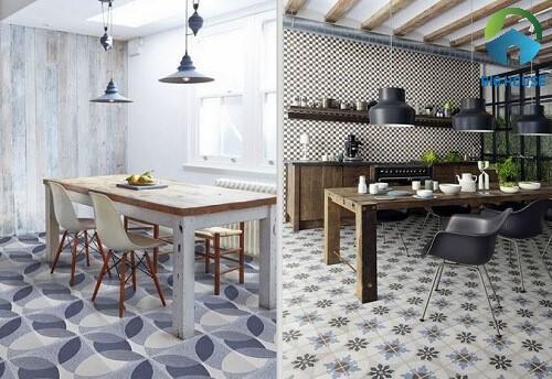 2 mẫu gạch hoa văn lát sàn bếp ấn tượng