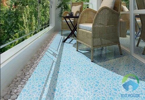 Gạch lát ban công giả sỏi gam màu xanh nhẹ, bề mặt định hình