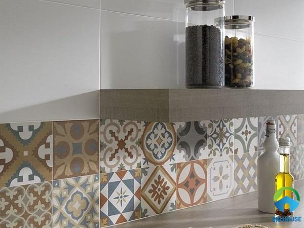 Gạch hoa trang trí bếp độc đáo