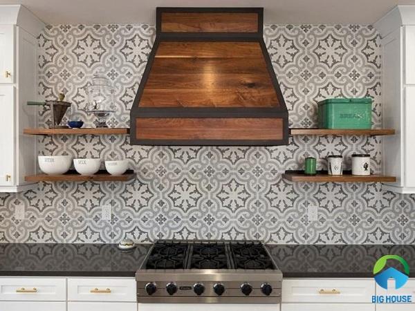 Gạch bông trang trí bếp xám nhạt