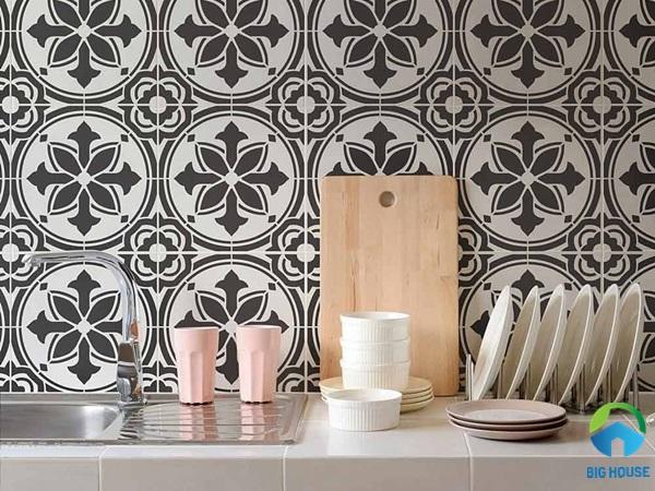 Gạch bông trang trí bếp họa tiết đen trắng