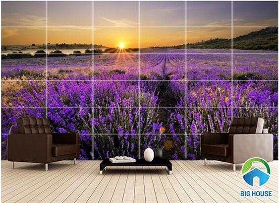 tranh gạch 3D phong cảnh cánh đồng hoa lavender