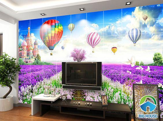 Mẫu gạch ốp phòng khách với khung cảnh vườn hoa tím lãng mạn