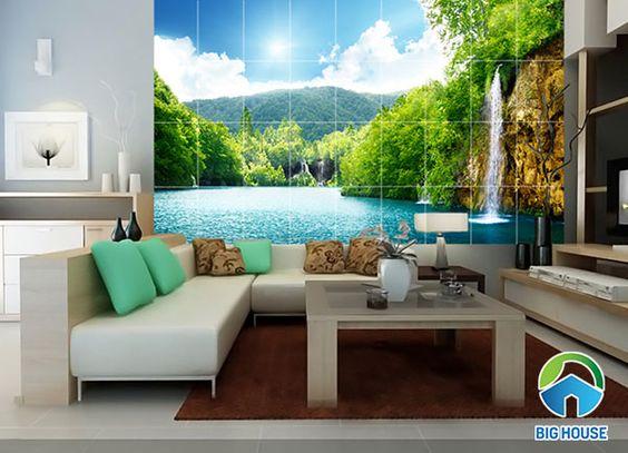 Hình ảnh hồ nước trong xanh với mẫu gạch này cho phòng khách thêm tươi mát